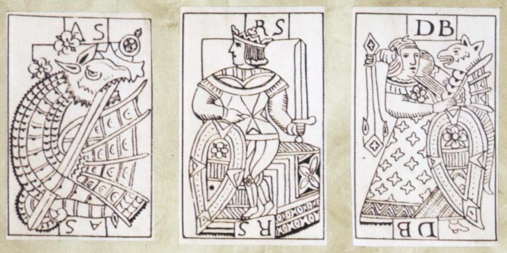 Rei cavalheiro e dama do baralho português